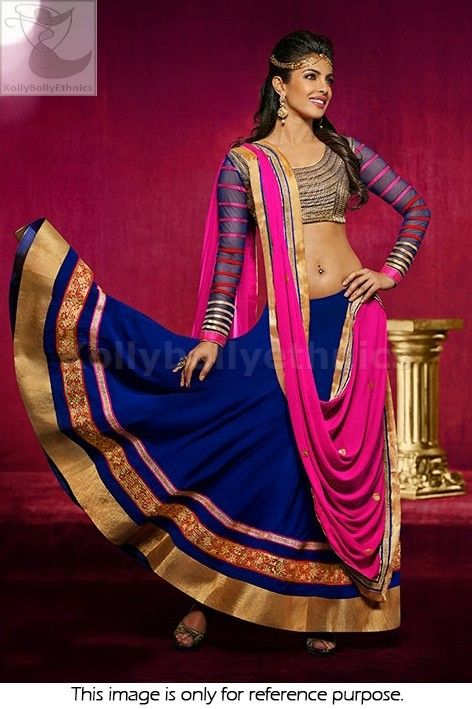 Bollywood Actress Priyanka chopra Geogette lehenga in blue and pink color