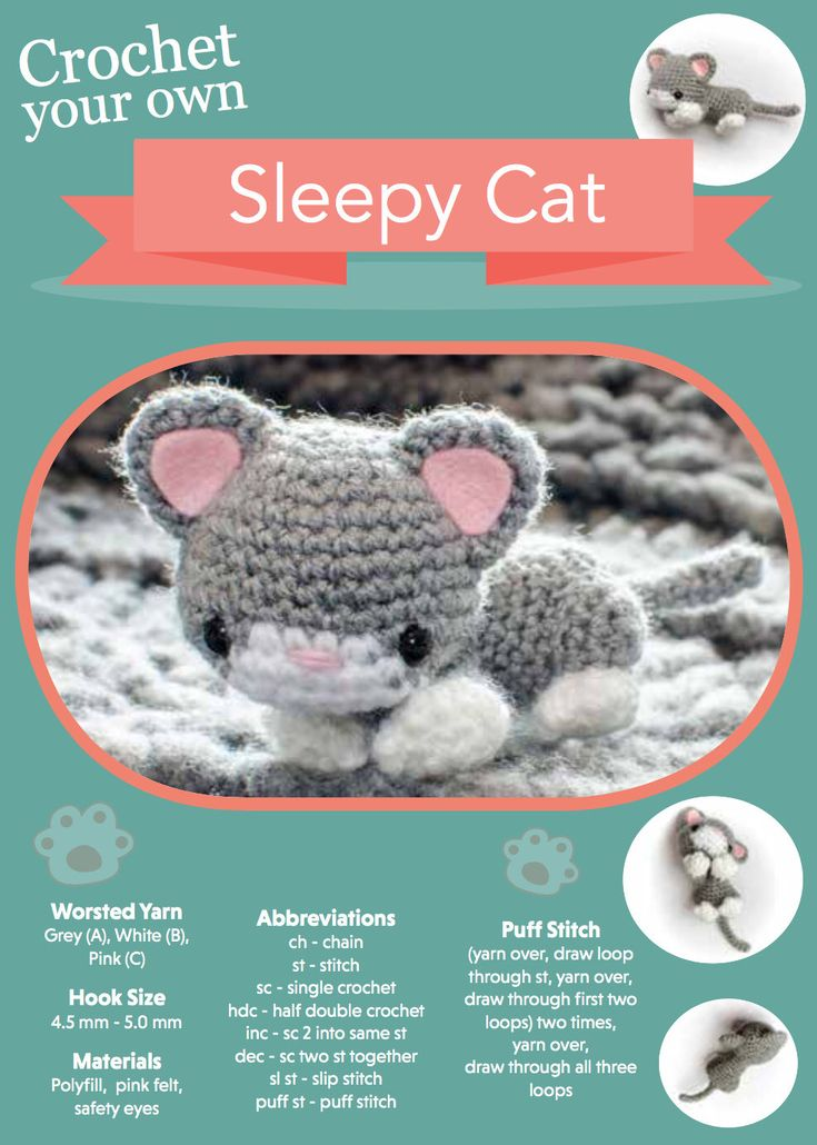 Sleepy Cat Amigurumi Crochet Pattern by SirPurlGrey on Etsy https://www.etsy.com/listing/527288108/sleepy-cat-amigurumi-crochet-pattern
