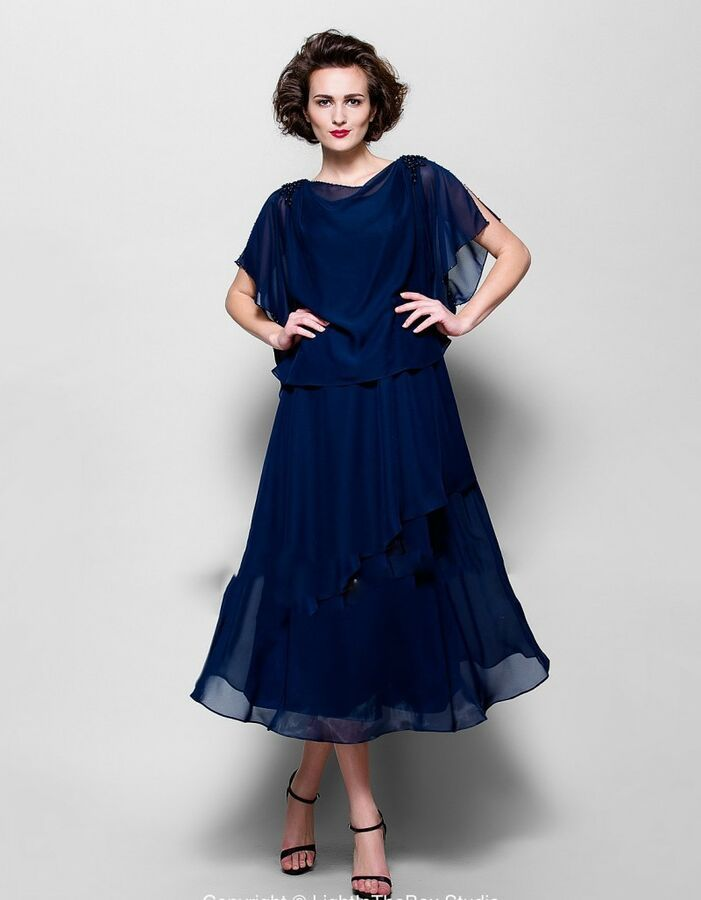 Navy Blue Mother Of The Bride Dresses Chiffon Tea Length Tiered