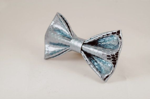 Azure snake skin leather bow tie by LimeG on Etsy