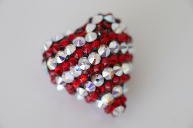 "$60.00 - Swarvski Crystal 3D heart shaped Christmas ornament - 1"" x 1"" x 1/2""   *** SOLD ***"