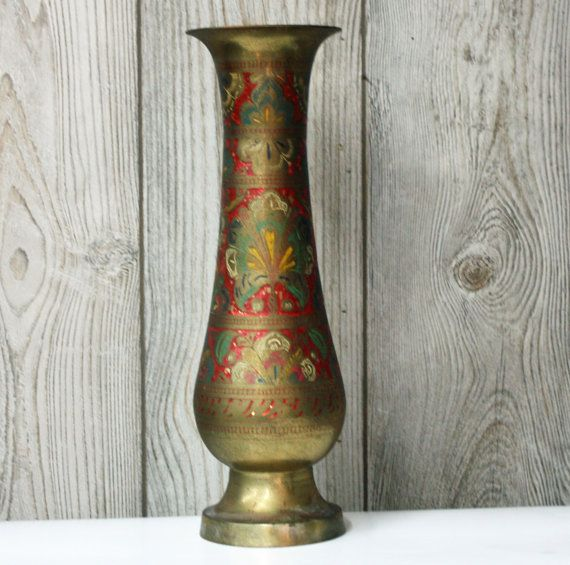 Vintage Large Brass Vase Etched And Painted Flowers 16