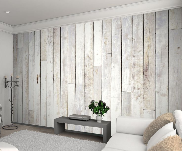 1wall White Wash Wood Panel Picture Photo Wallpaper Mural 3.15m X 2.32m