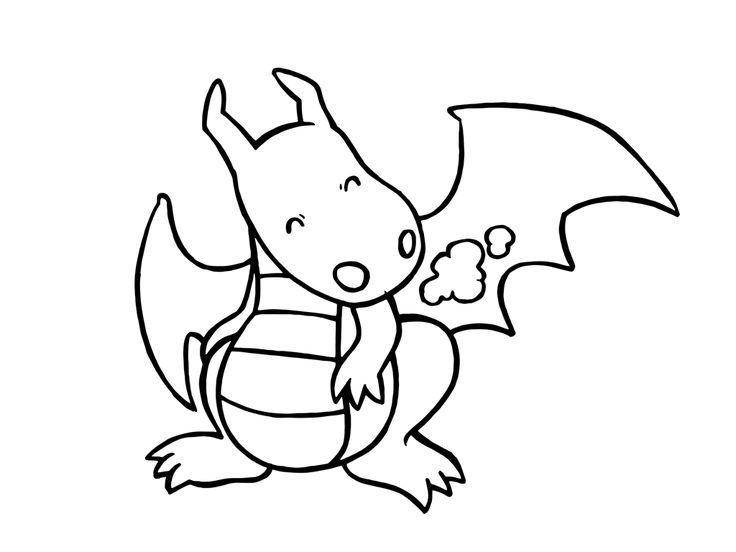 Un dragon tout mignon ! | Coloriage, Coloriage enfant, Dessin