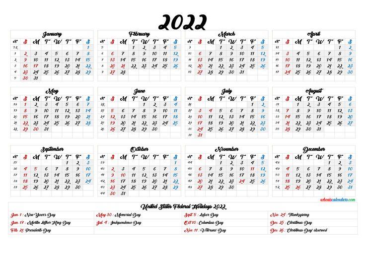 2022 Calendar with Week Numbers Printable - 6 Templates ...