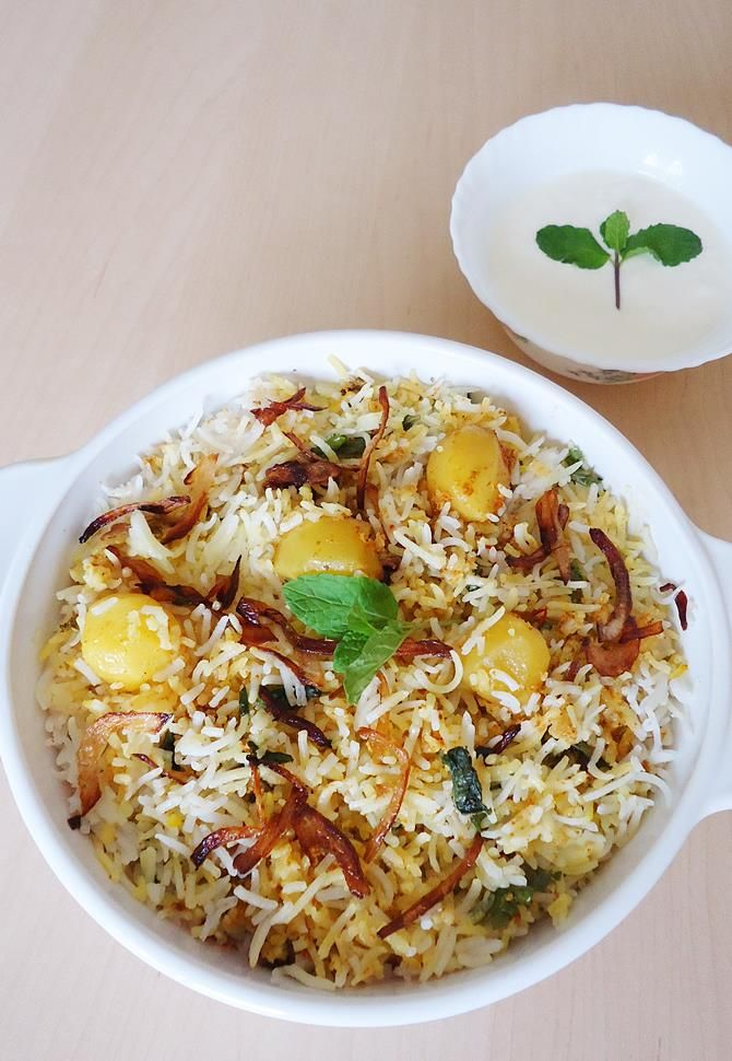 aloo dum biryani cooked in the hyderabadi style, almost similar to the veg biryani that I shared earlier.   If you are looking for a simple aloo biryani, here are some of the posts on veg biryani recipes which you can easily adapt to make a simple biryani. Veg biryani in pressure cooker Soya chunks …