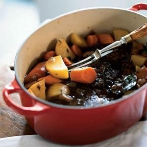 Classic Beef Pot Roast Recipe | MyRecipes.com. This only takes 3 hours and is SO much better than a Crock Pot roast!  I even made it on a week night!