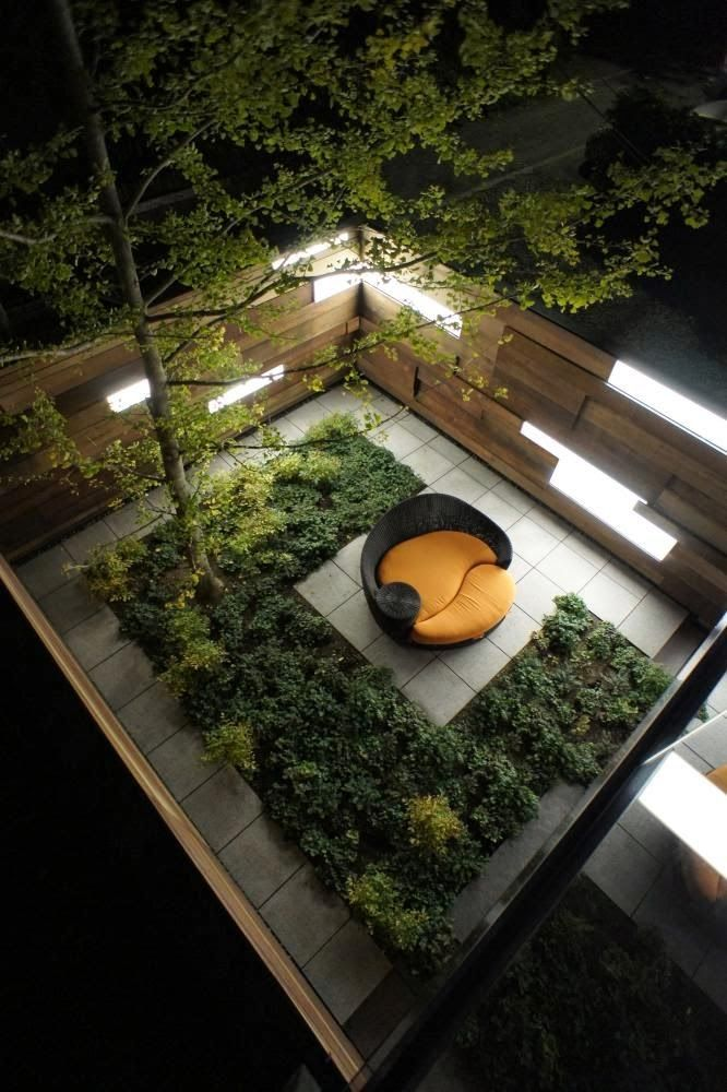Nicely formed garden space at night