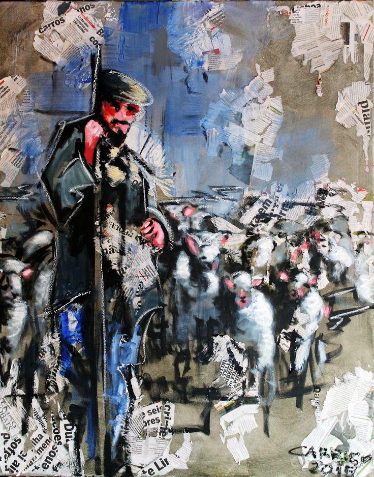 """""""Pastor"""" / """"Shepherd"""" Técnica mista sobre tela / Mixed media on canvas 100 x 80 cm 2015"""
