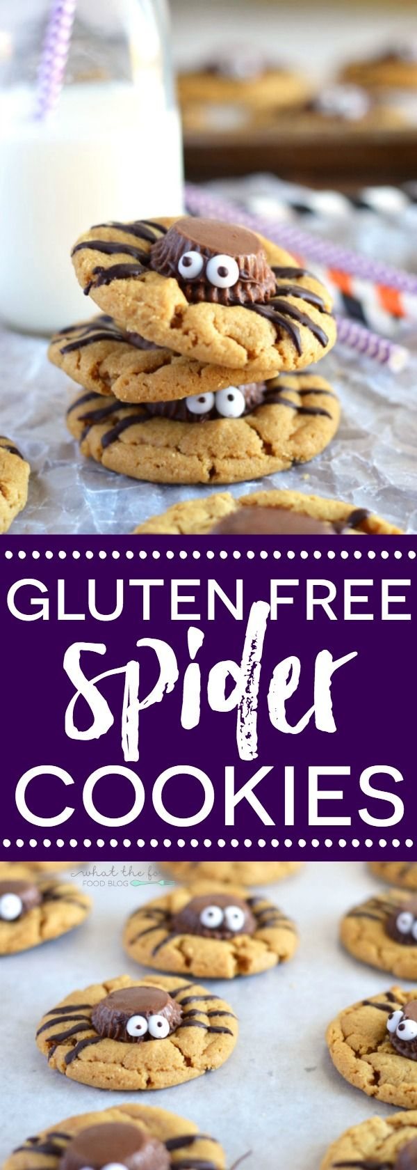 Gluten Free Spider Cookies - perfect for Halloween! Full of chocolate and peanut butter flavor, these cookies are sure to be a hit! Recipe from @whattheforkblog | whattheforkfoodblog.com
