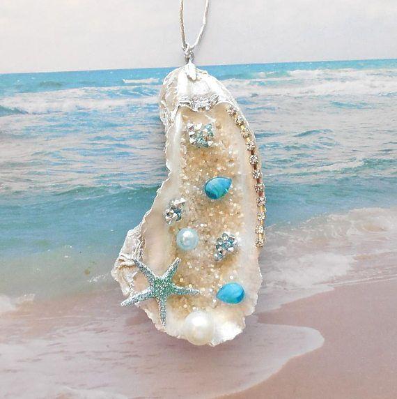 Oyster Shell Ornament Beach Christmas Ornament Beach Holiday