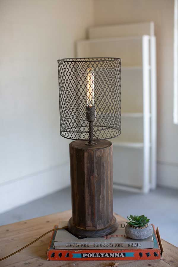 Round Recycled Wooden Table Lamp With Wire Mesh Shade Svetilniki Lampa Osveshenie