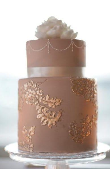 dusty rose latte wedding cake