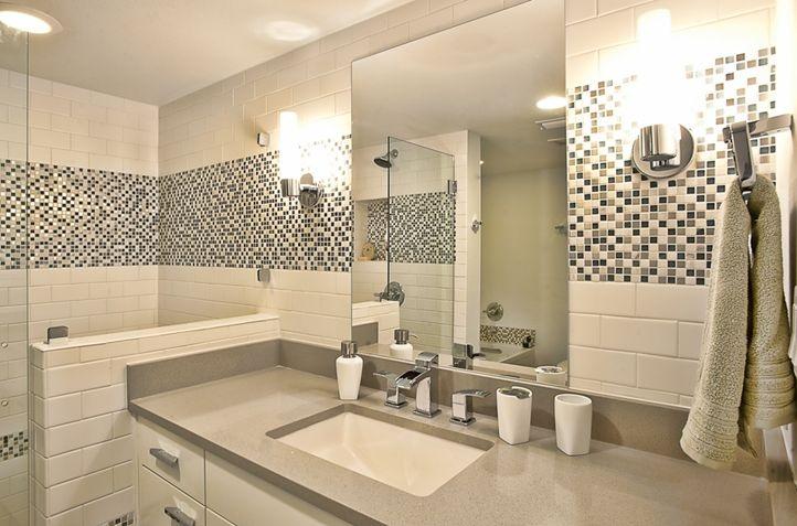 Lakeview | Remodel | Greenbelt Construction | Austin TX Custom Home Builder | www.GreenbeltConstruction.com | info@greenbeltconstruction.com bathroom tile mosaic grey countertops white tile