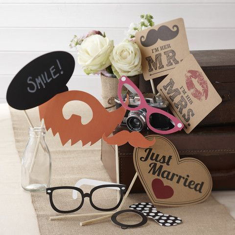 A #Vintage Affair Photo Booth Kit. Props for guests to use to take that perfect & fun wedding snap! - Cadeaux.ie #weddingplanning #weddingideas #photobooth