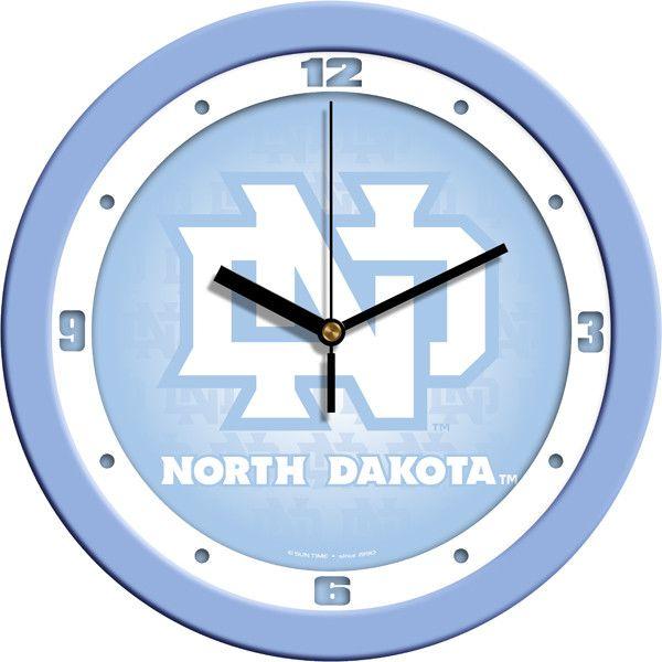 Mens North Dakota Fighting Hawks - Baby Blue Wall Clock