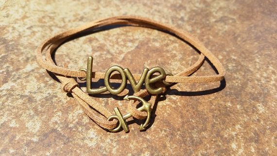 Brown Leather Bronze Anchor Love Bracelet Anklet by HannaschCrafts