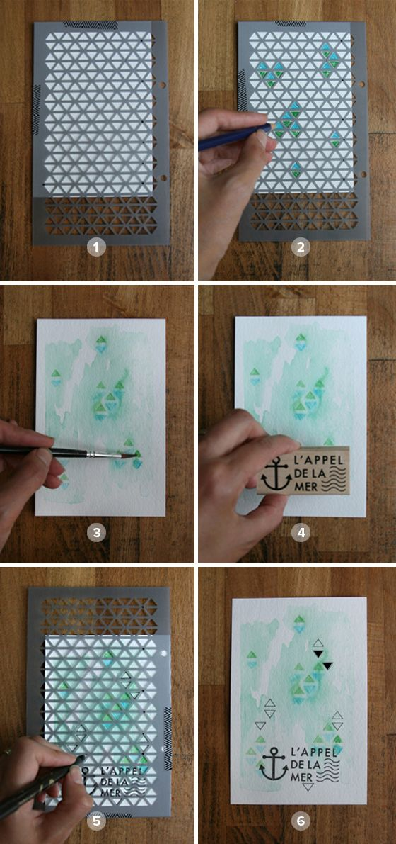 Kesiart-Technique-Carte postale aquarellée
