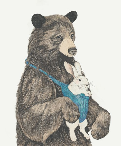 the bear au pair Art Print by Laura Graves | Society6