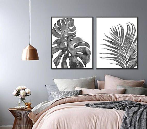 Gray decor tropical art print palm leaf watercolor print