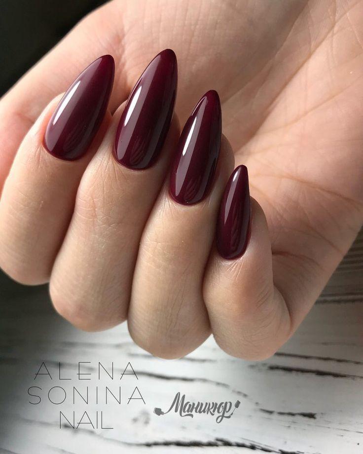 Dark Red Stiletto nails