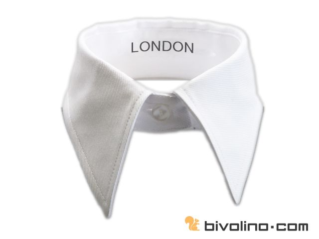 London collar for women. The London collar or narrow straight point collar looks like the button down collar but without buttons on the points. This is not a very well known collar shirt but presents the advantage to be very soft and flexible which is quite nice for a woman collar shirt. It is appreciated for this unique softness greatly admired by women shirt lovers.