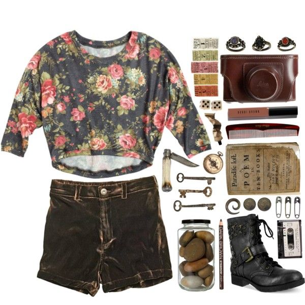 A fashion look from September 2013 featuring 3/4 sleeve shirts, short shorts and army boots. Browse and shop related looks.