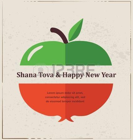 Tarjeta de felicitación para el Año Nuevo Judío, Rosh Hashaná, con frutas tradicionales