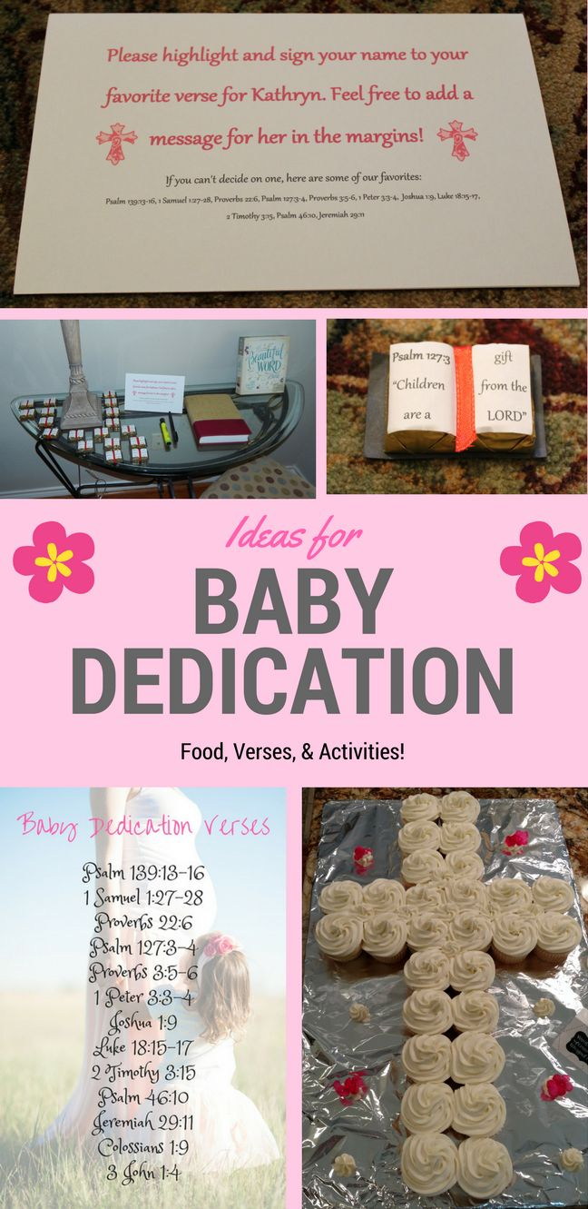 Here are some ideas for a baby dedication party: verses, activities, and easy food ideas!