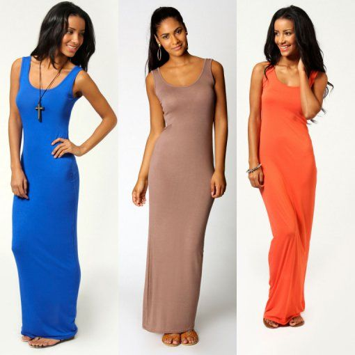 blue mocha orange maxi summer dress 2014
