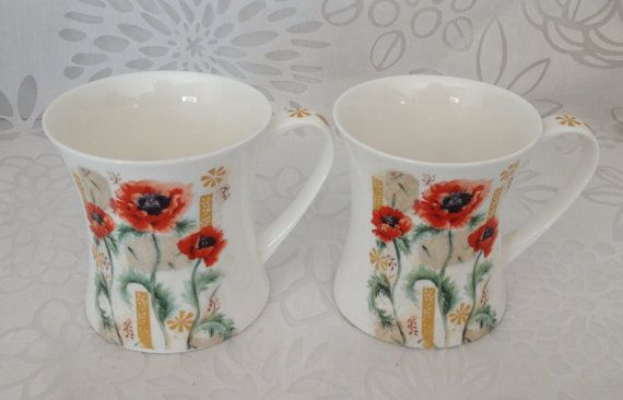 Bone China Mugs Coffee Mugs English China by TreasuresFoundShoppe