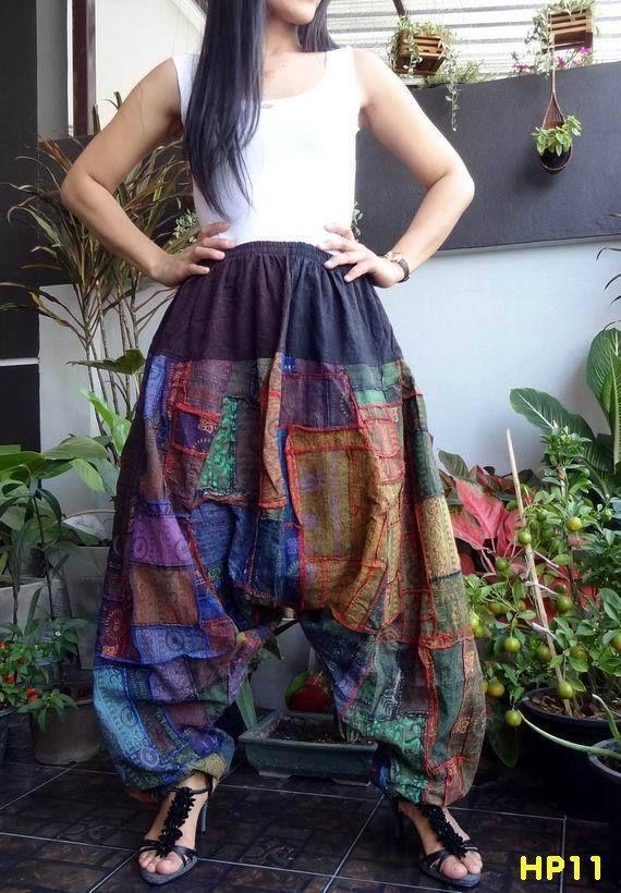 HP11-Unisex Drop Crotch Ohm Unique Patchwork Harem Baggy Pants,100%Cotton #TribalFashion #CasualHaremDropCrotchHippie