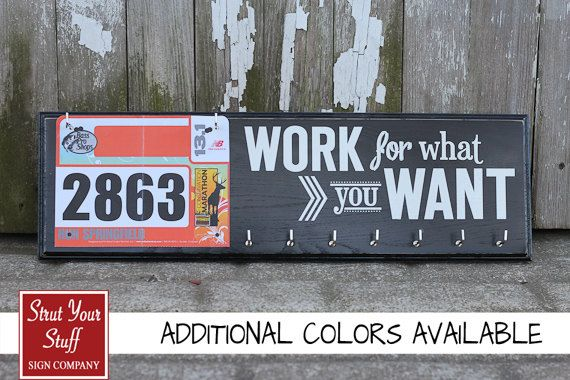 Want this! Running Medal Holder and Race Bib Hanger  by StrutYourStuffSignCo, $42.50