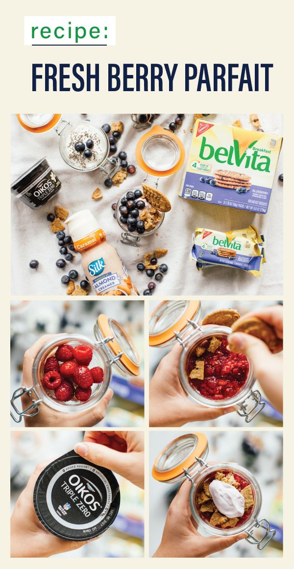 Start your day off right with a Fresh Berry Parfait recipe—made with belVita Breakfast Biscuits and Oikos Triple Zero Mixed Berry Yogurt—as well as a homemade cold brew complete with Silk Almond Creamer! With a morning combination as tasty as this, no busy day can stand in the way of tackling your goals this new year. Find all the ingredients you'll need for this fruity favorite at your local Kroger.