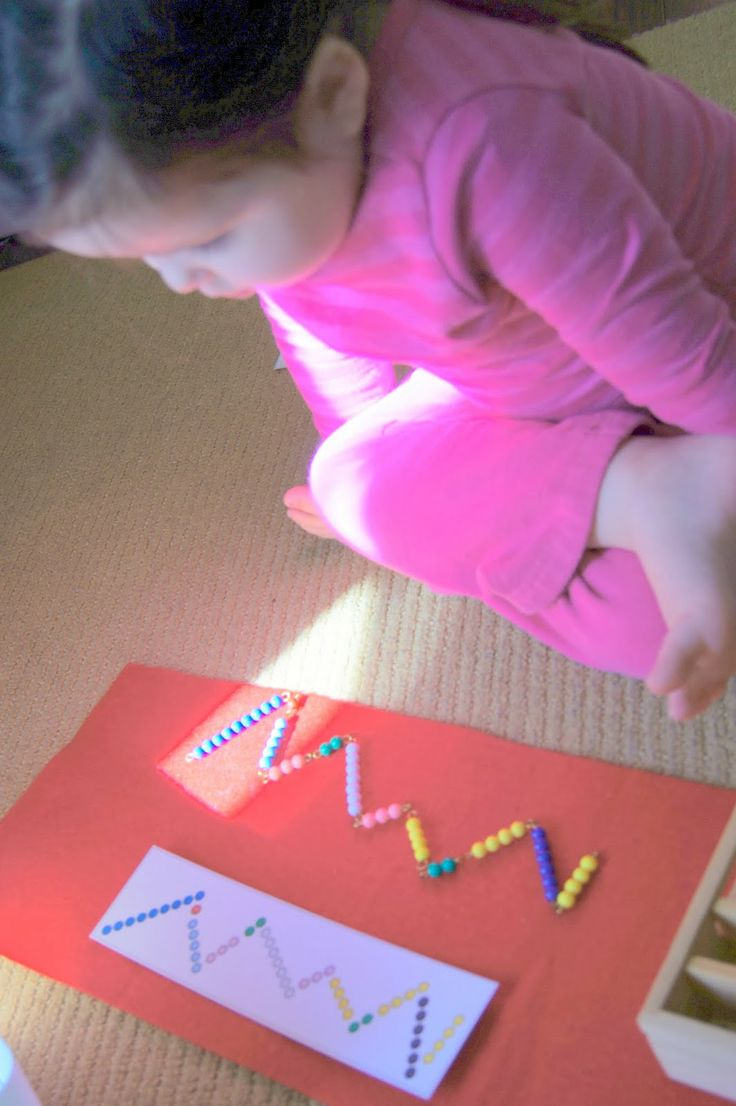"""""""Making Montessori Ours"""": Montessori Search for Ten Snake Game The children use the Bead Bar Stamps from Great Extensions to record this work."""