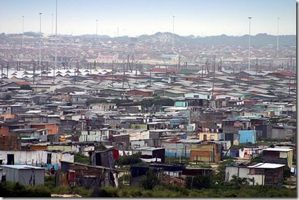 Khayelitsha township... biggest township in Cape Town. Went on for miles.