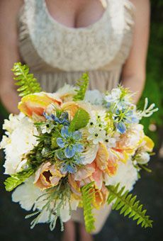 orange french tulip wedding bouquet