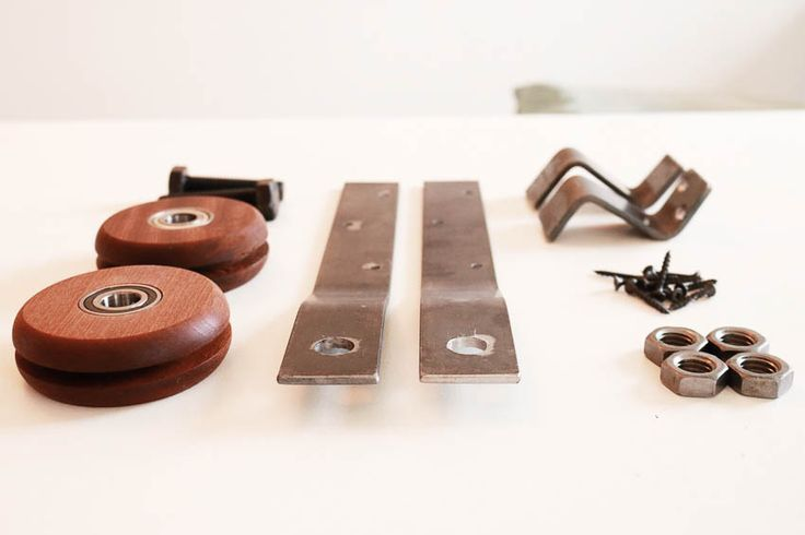 Sliding door track hardware hangers, wooden wheels and everything in between! http://www.lynneknowlton.com/product/sliding-door-hardware-kit/