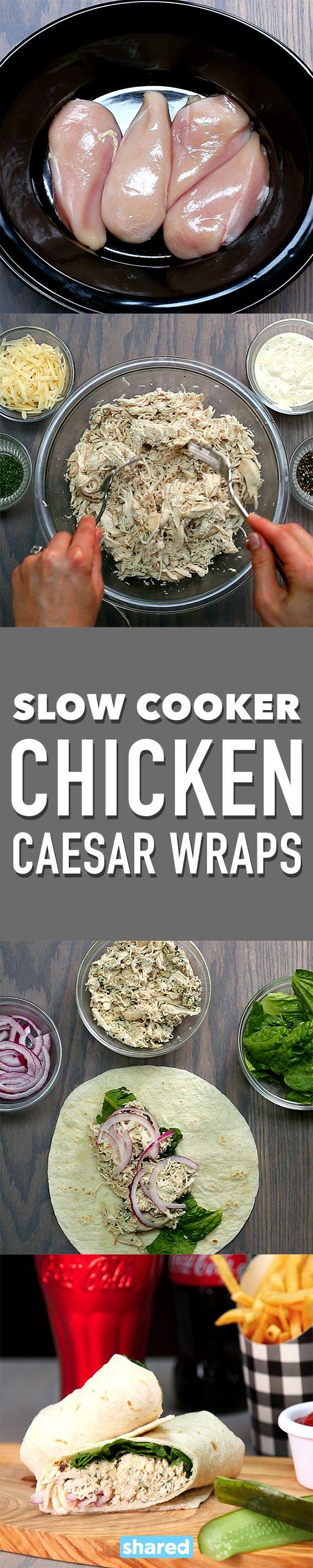 Slow Cooker Chicken Caesar Wraps