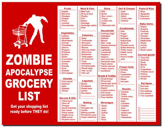 """Zombie grocery list- THANK GOD they added sunblock, in a real emergency I might have forgotten & with my pale skin can we say """"hello melanoma""""? Being"""