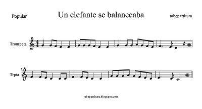 ¡Para los más peques! Un elefante se balanceaba partitura de #Trompeta