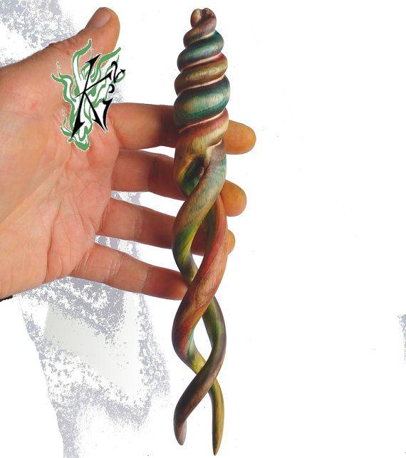 Haarforke Helixforke haarstab Unikat von JadedracheHairPoetry                                                                                                                                                                                 Mehr