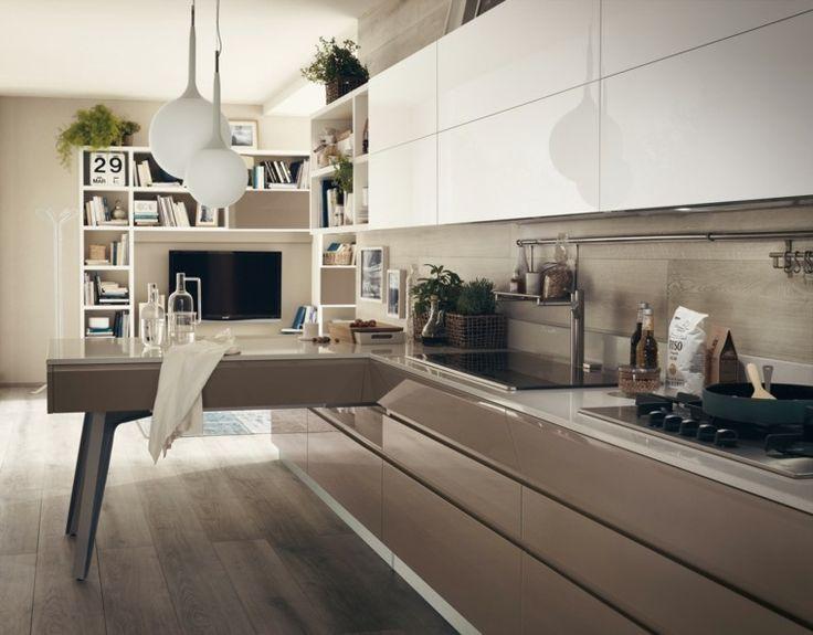 muebles de color beige brillante en la cocina moderna
