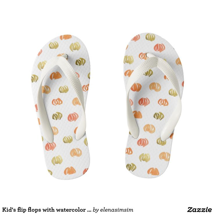 Kid's flip flops with watercolor pumpkins