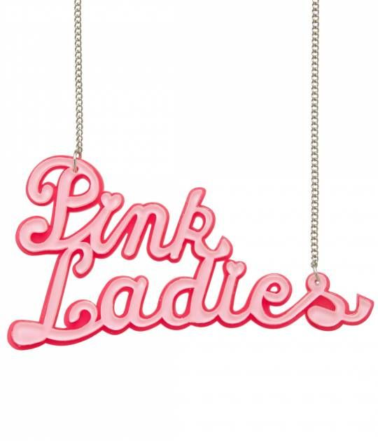 Think pink, darling! A gorgeous resin necklace from Erstwilder, this Grease inspired necklace features a lobster clasp necklace, lovingly hand assembled and fabulously limited edition with light pink cursive font that reads, Pink Ladies. Comes complete