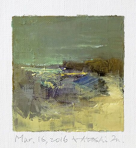 Mar. 16, 2016 - Original Abstract Oil Painting - 9x9 painting (9 x 9 cm - app. 4 x 4 inch) with 8 x 10 inch mat