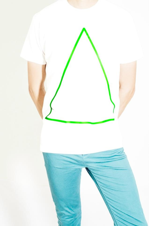 Cotton White T-Shirt Design : Neon Triangle