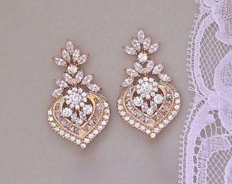 Pendientes de araña de cristal pendientes, pendientes de novia en oro rosa, oro rosa cristal, CAMILLE RG