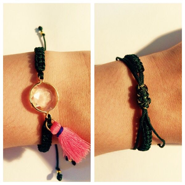 My favorite crystal stone macrame bracelet in khaki green and pink details
