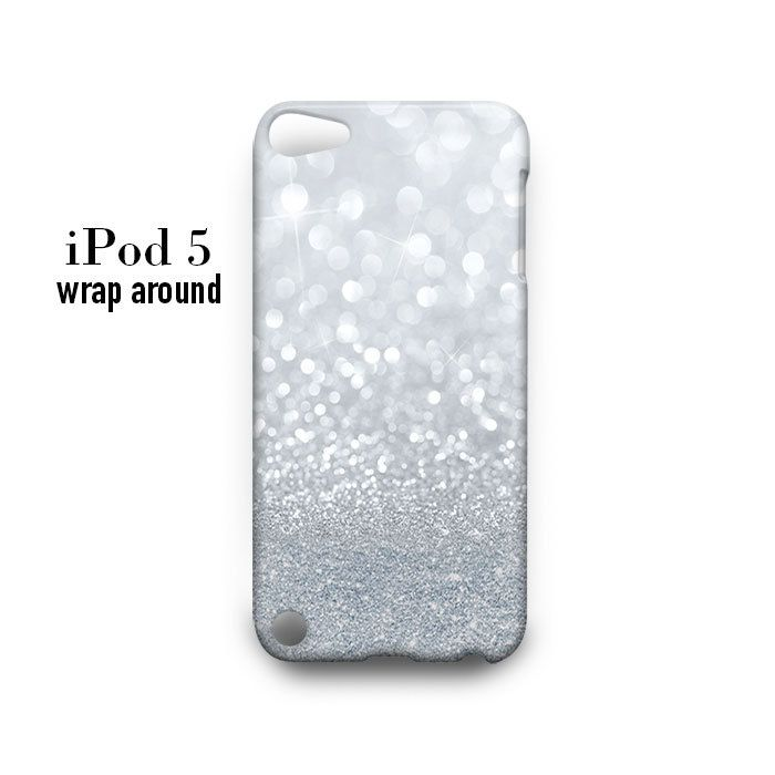 Grey Sparkle Glitter iPod Touch 5 Case Wrap Around